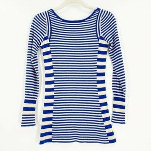 Free People Small Sweater Knit Top Blue Ivory Stripe Wool Cashmere Long Sleeve